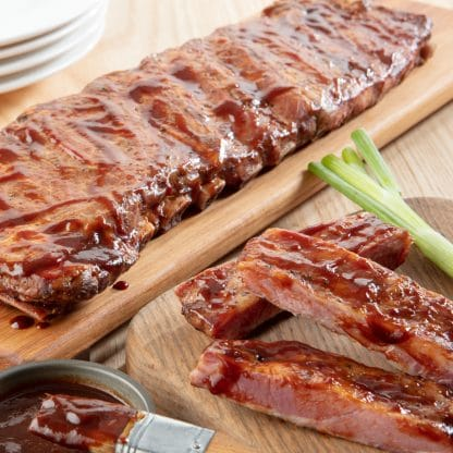 Smoked and Sauced Pork Ribs